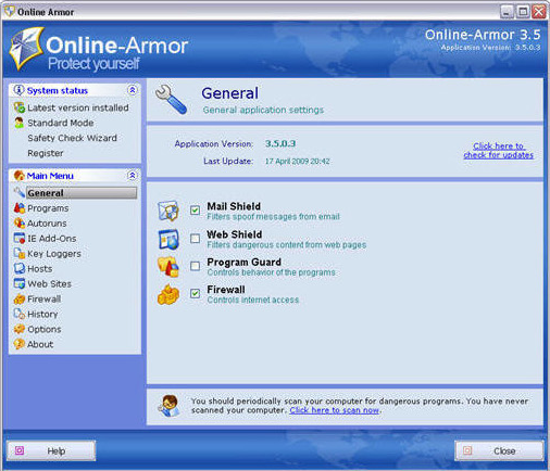 Online Armor ++ (Anti-Virus & Firewall Protection), Internet Security Software Screenshot