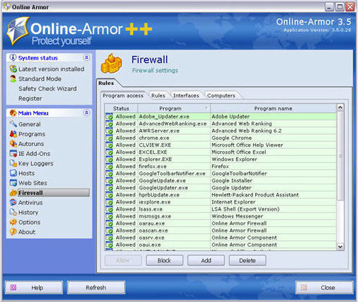 Online Armor ++ (Anti-Virus & Firewall Protection) Screenshot