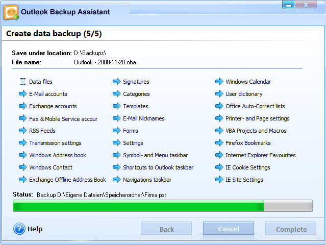 Security Software, Outlook Backup Assistant 7 Screenshot