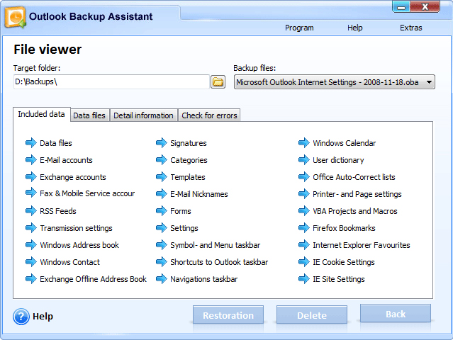 Outlook Backup Assistant 7 Screenshot 10