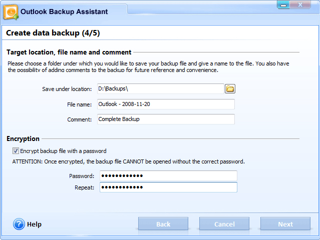 Backup Email Software, Outlook Backup Assistant 7 Screenshot