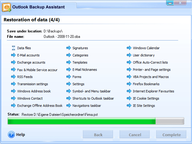 Outlook Backup Assistant 7 Screenshot 9