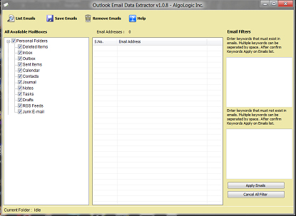 Outlook Email Data Extractor Screenshot