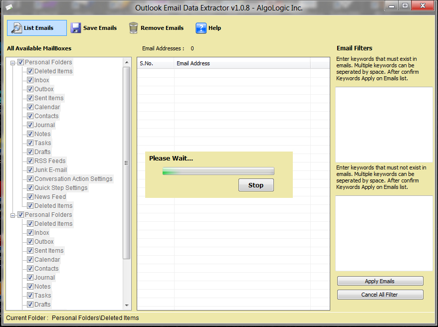 Email Extraction Software Screenshot