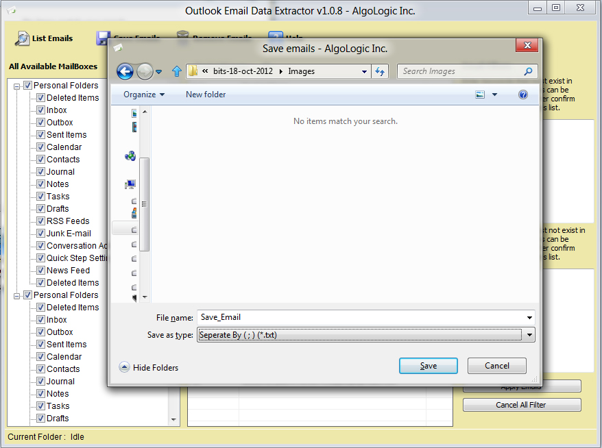 Outlook Email Data Extractor, Email Extraction Software Screenshot