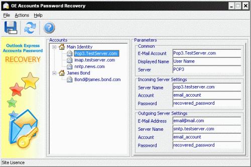 Outlook Express Accounts Password Recovery Screenshot