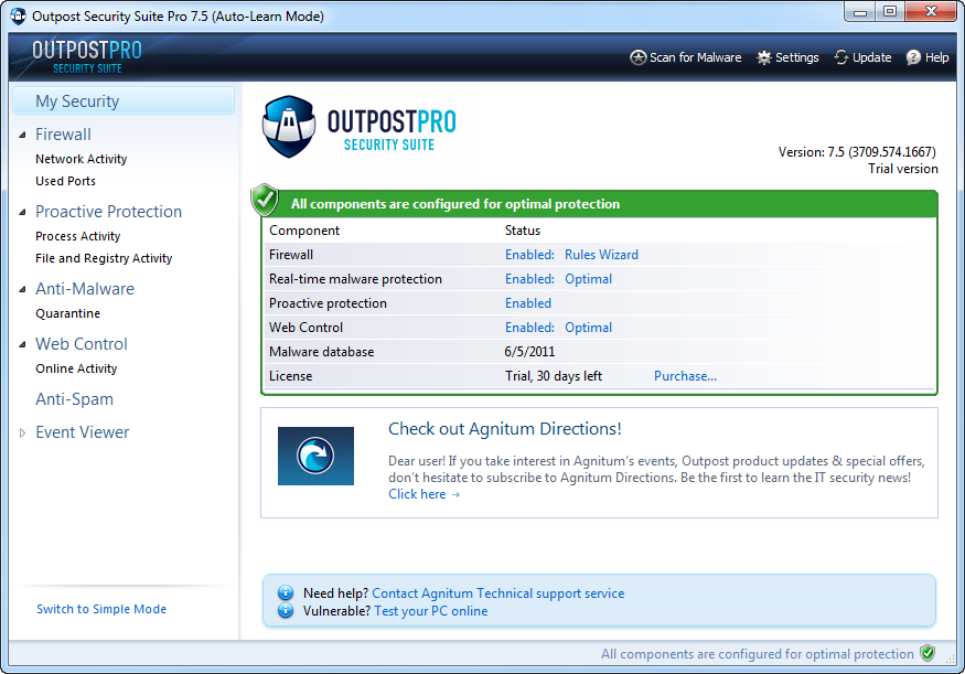 Outpost Security Suite Pro 3PCs Screenshot