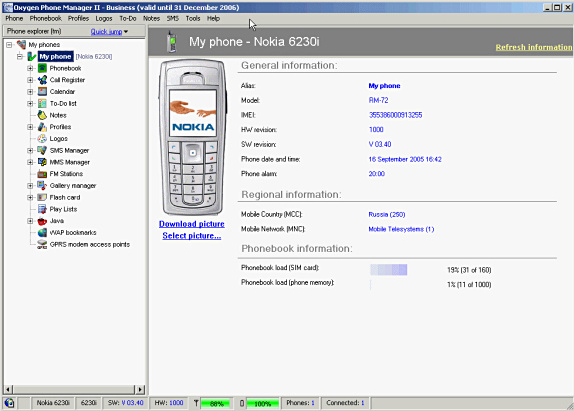 Oxygen Phone Manager II, Organization Software Screenshot