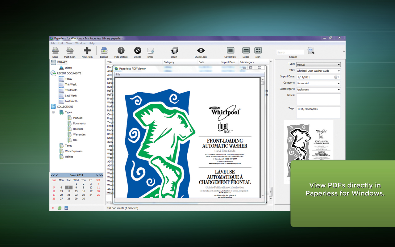 Paperless, Productivity Software Screenshot
