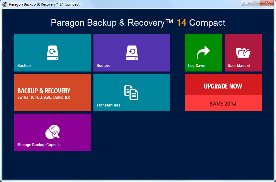 Paragon Backup & Recovery 14 Compact Screenshot