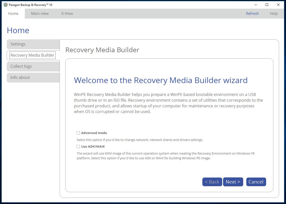 Paragon Backup & Recovery Screenshot