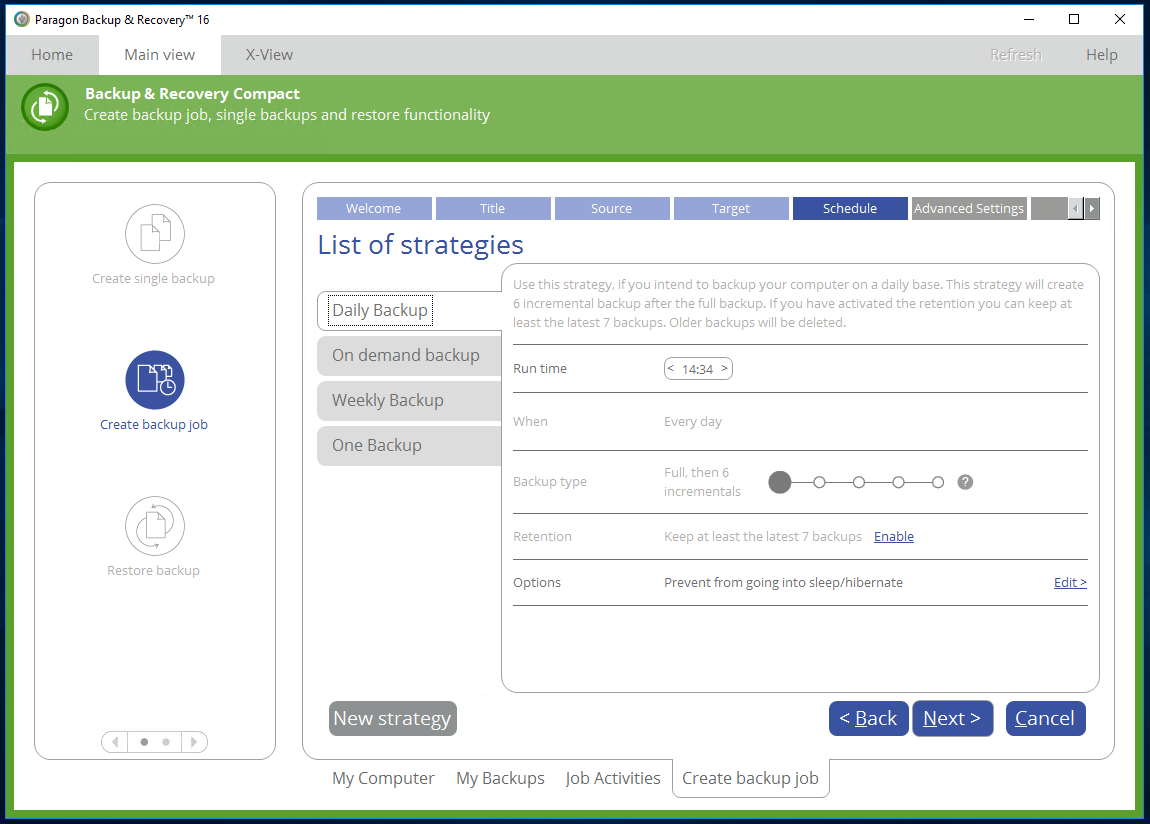 Paragon Backup & Recovery, Security Software Screenshot