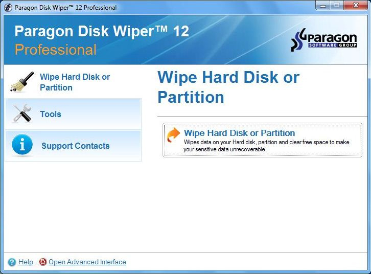 Paragon Disk Wiper Professional Screenshot