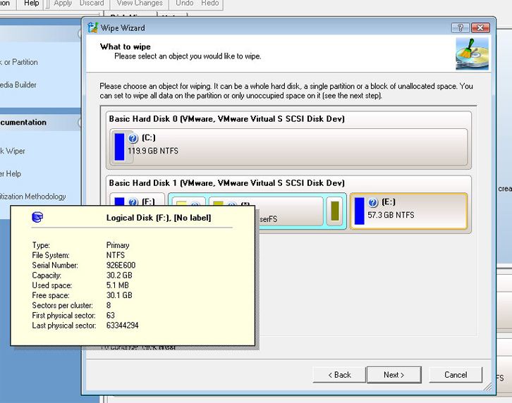 Paragon Disk Wiper Professional, Deletion Software Screenshot
