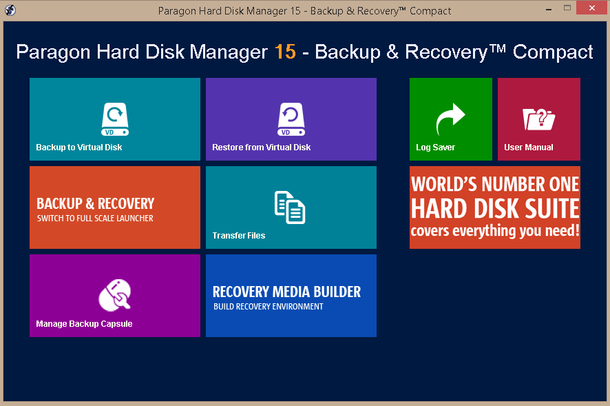 Paragon Hard Disk Manager 15 - Backup & Recovery Compact Screenshot