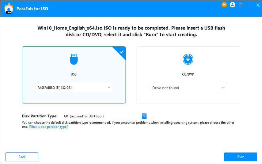 PassFab for ISO, Software Utilities Screenshot