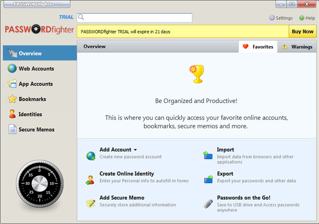 PASSWORDfighter, Access Restriction Software Screenshot