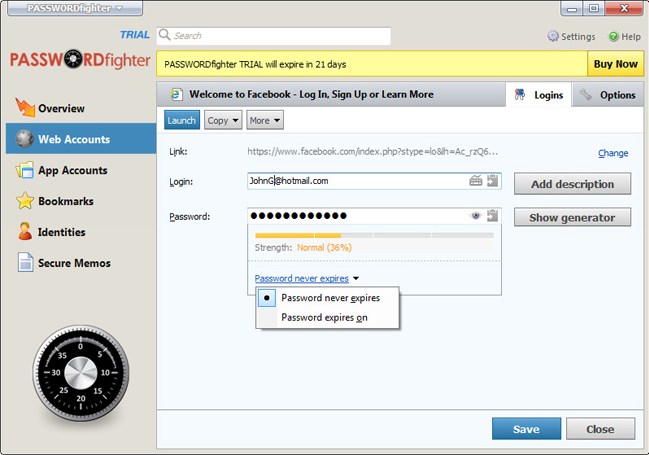 PASSWORDfighter, Security Software Screenshot