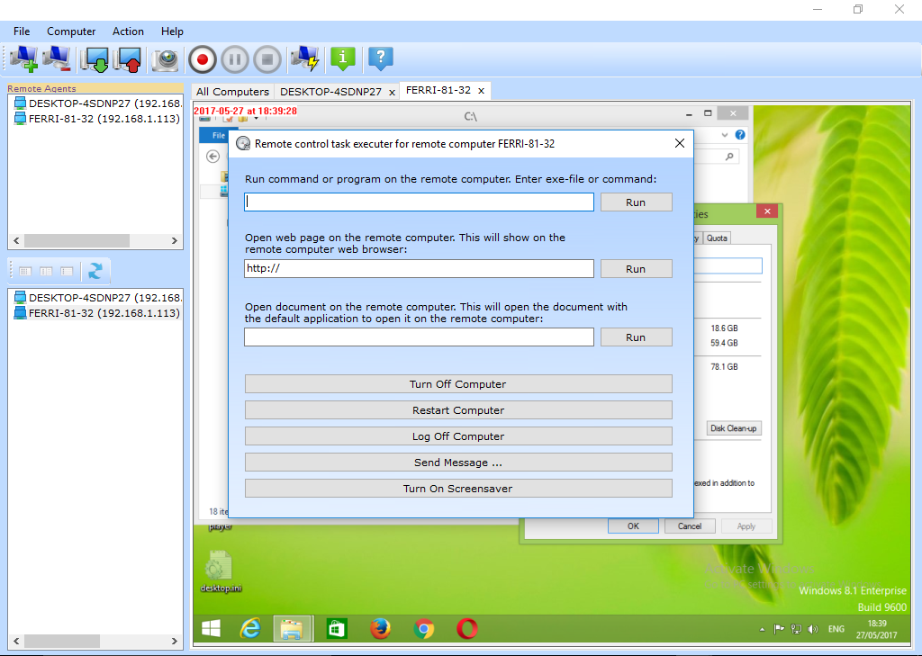 Remote Control Pro LAN Edition, Activity Monitoring Software Screenshot