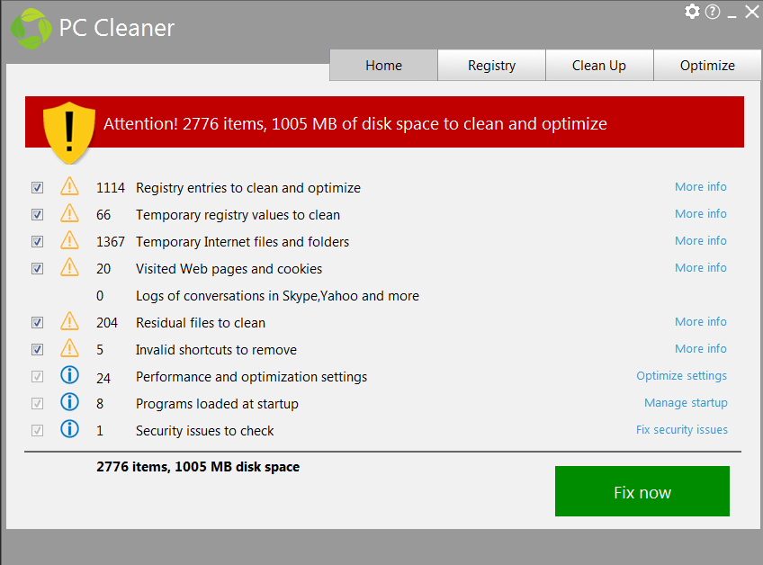 PC Cleaner from PC HelpSoft, PC Optimization Software Screenshot