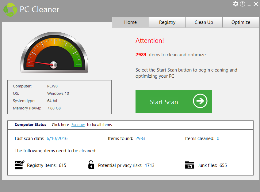 PC Cleaner from PC HelpSoft Screenshot