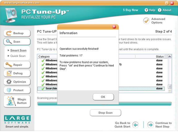 PC Tune-Up, System Tweaker Software Screenshot