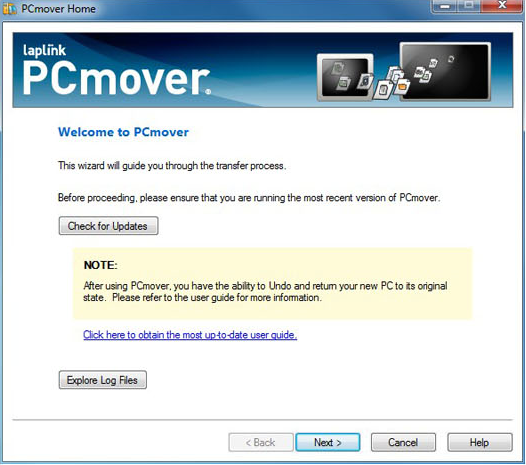PCmover Home Screenshot