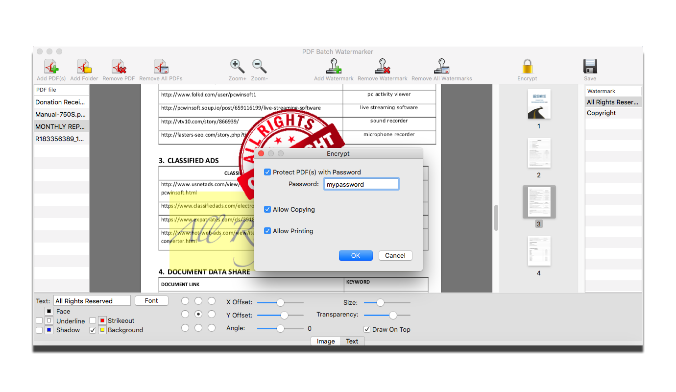 PDF Utilities Software, PDF Batch Watermarker Screenshot