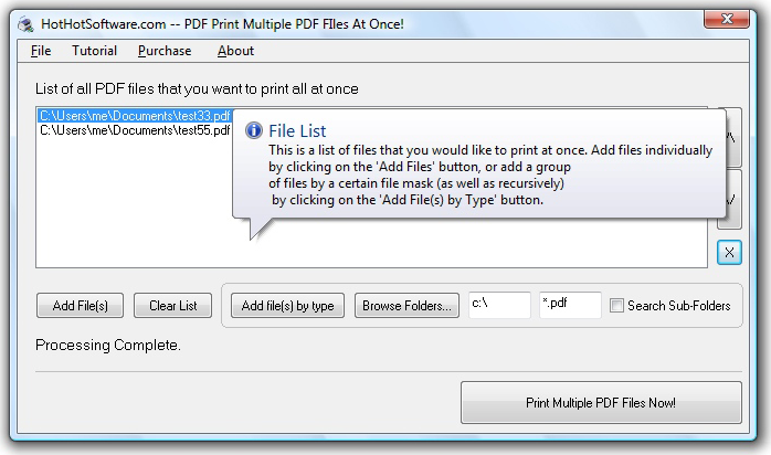 Print Multiple PDF Files Screenshot