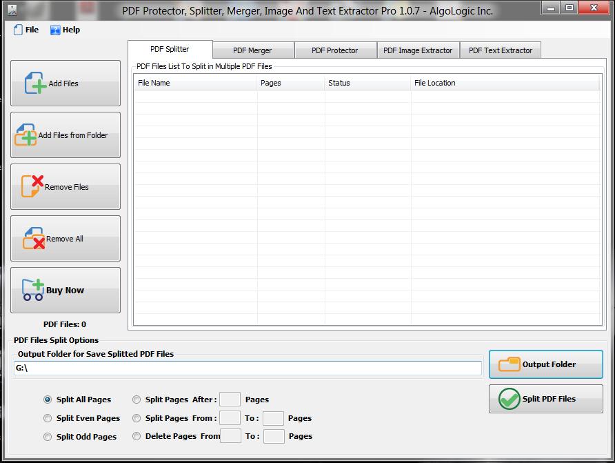 PDF Protector, Splitter and Merger Screenshot
