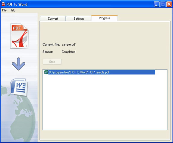 PDF to Word, PDF Conversion Software Screenshot