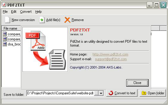 PDF2TXT, PDF Conversion Software Screenshot