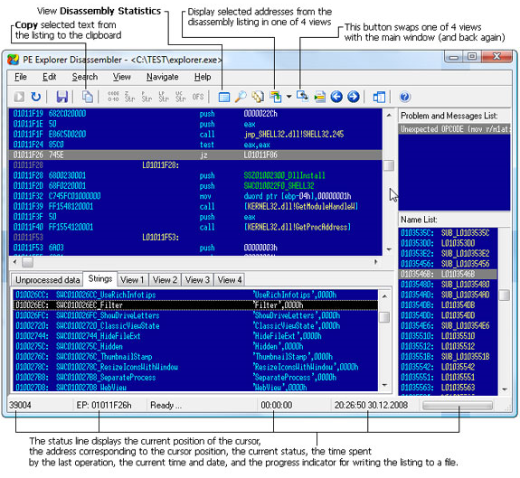 Development Tools Software, PE Explorer Screenshot