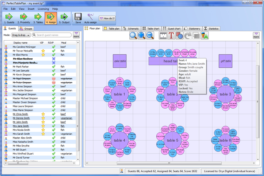 PerfectTablePlan Home Edition, Productivity Software Screenshot