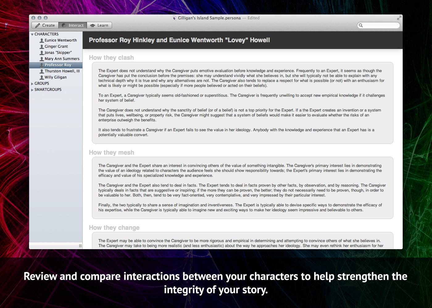 Persona, Writing and Journaling Software Screenshot