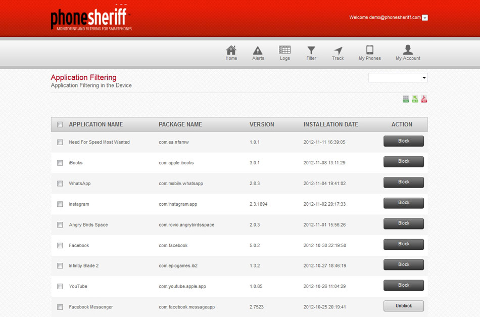 PhoneSheriff Screenshot