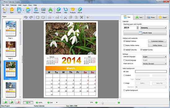 Photo Calendar Creator PRO, Graphic Design Software Screenshot