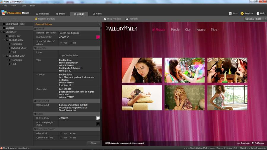 Photo Gallery Maker, Photo Manipulation Software Screenshot