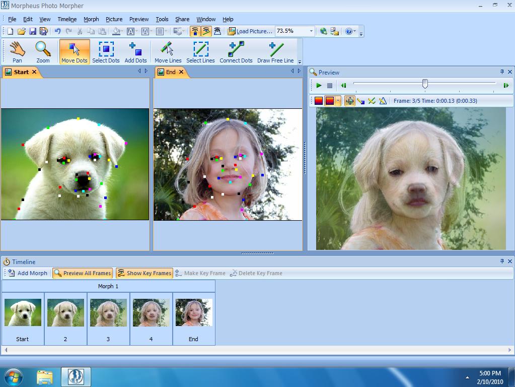 Photo Morpher, Morphing Software Screenshot