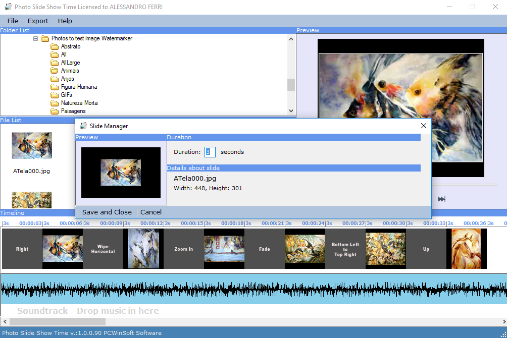 Photo Slide Show Time, Animation Software Screenshot