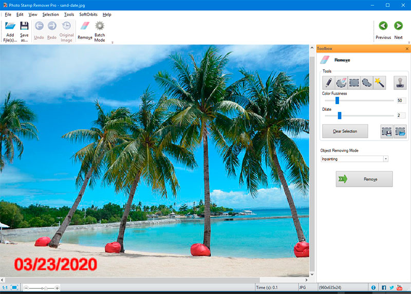 Photo Stamp Remover and Batch Picture Resizer, Photo Manipulation Software Screenshot
