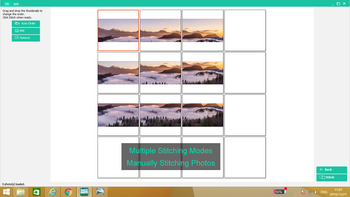 Photo Stitcher, Photo Editing Software Screenshot