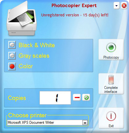 Photocopier Expert 7, Productivity Software Screenshot