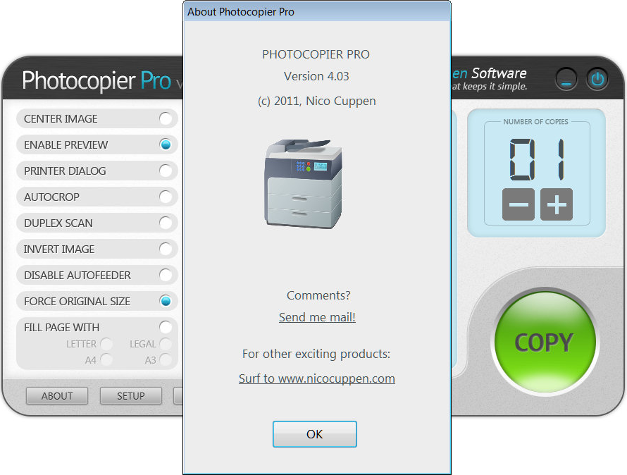 Printing Software, Photocopier Pro Screenshot