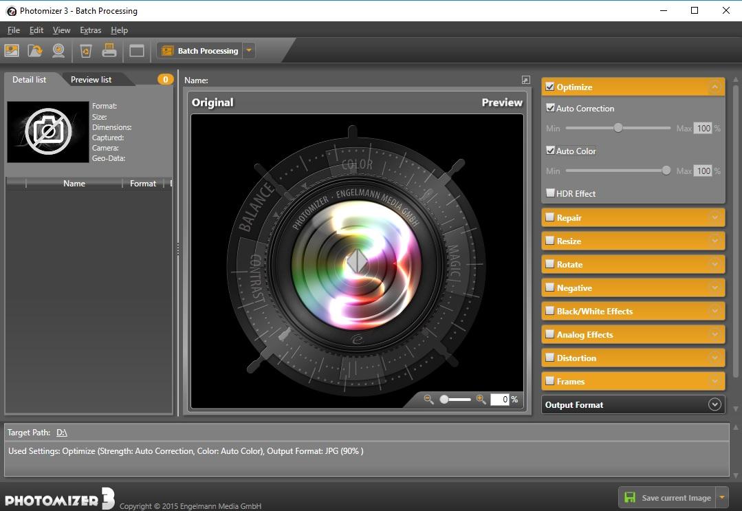 Photomizer 3, Photo Editing Software Screenshot