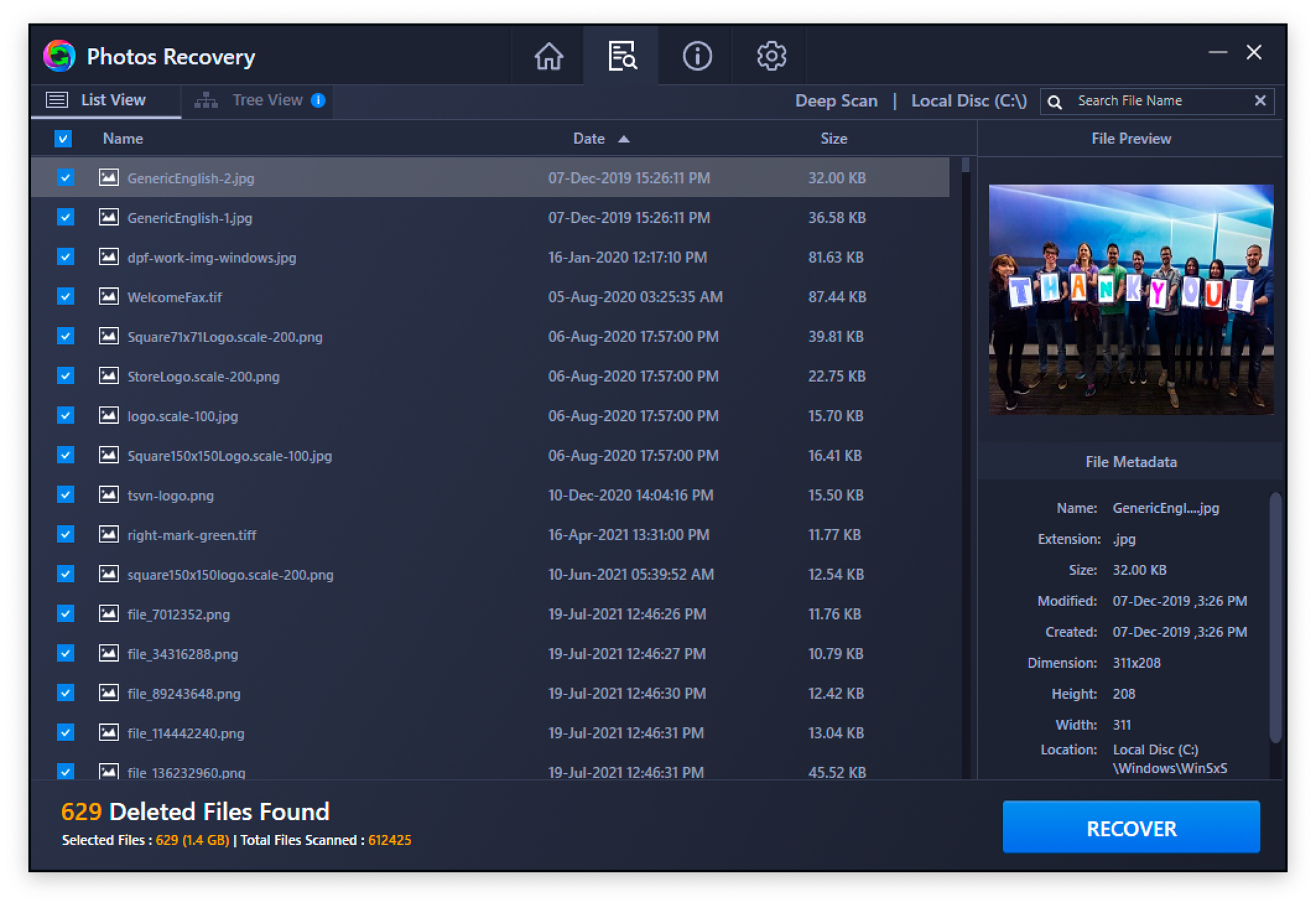 Photos Recovery, Recovery Software Screenshot