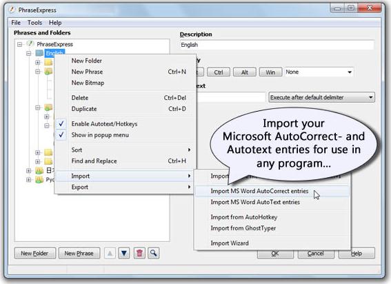 PhraseExpress v7 Easy, Keyboard Software Screenshot