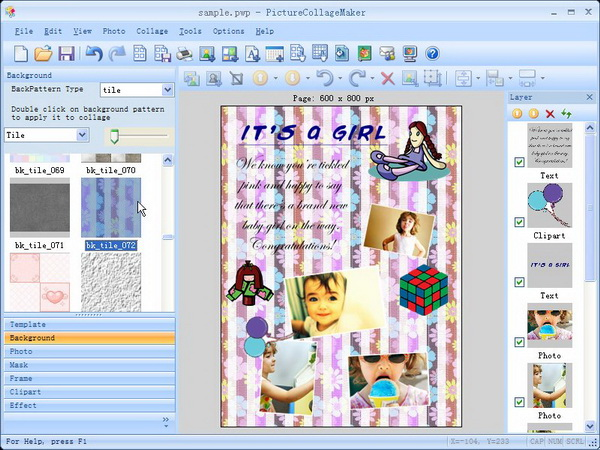 Picture Collage Maker, Graphic Design Software Screenshot