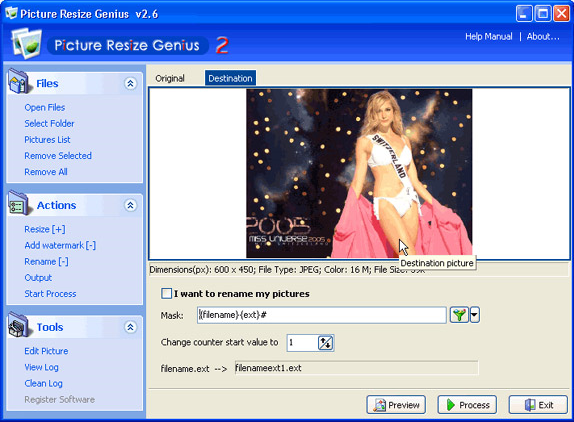 Picture Resize Genius, Batch Image Software Screenshot