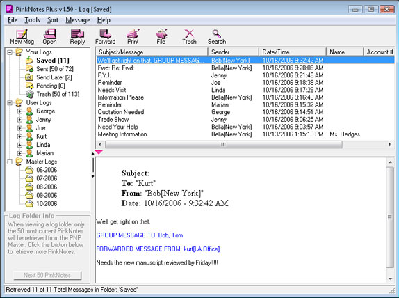 PinkNotes Plus, Business Management Software Screenshot